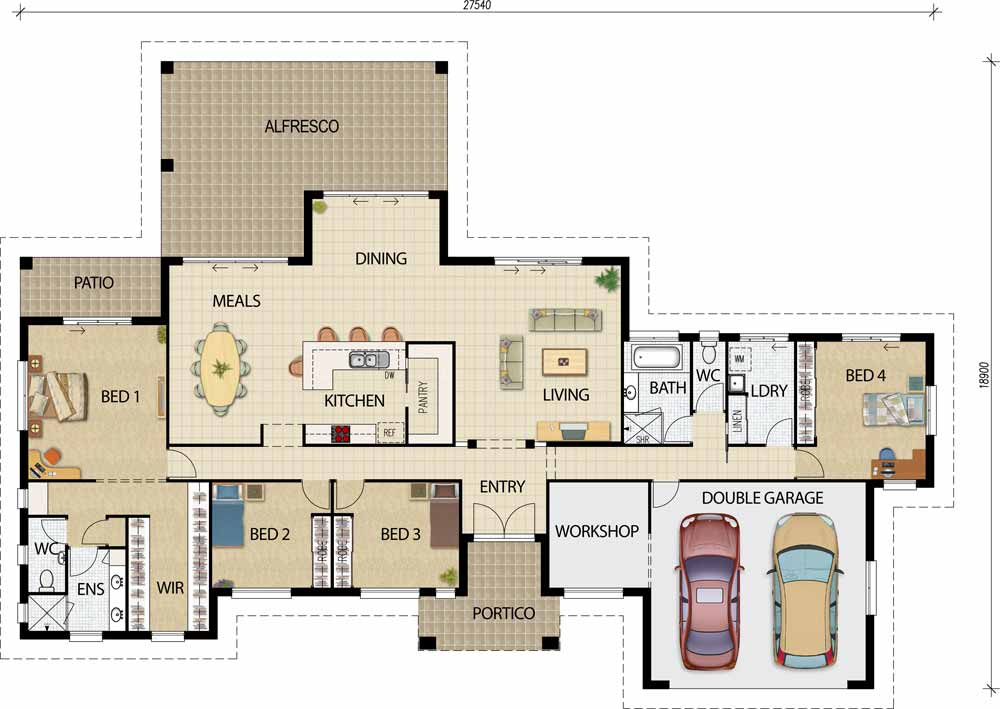 Acreage designs house plans queensland for Open plan house designs australia