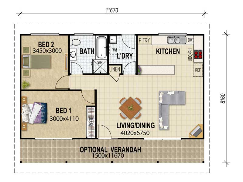 Cost to build 2 bedroom granny flat ireland for Two bedroom flat plan